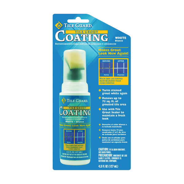 Homax 9310 Tile and Grout Coating, 4.3 oz Bottle, Liquid, Characteristic, White