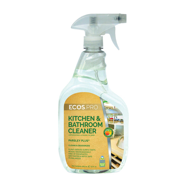 ECOS PL9746/6 Kitchen/Bathroom Cleaner, 32 oz Bottle, Liquid, Parsley, Water White