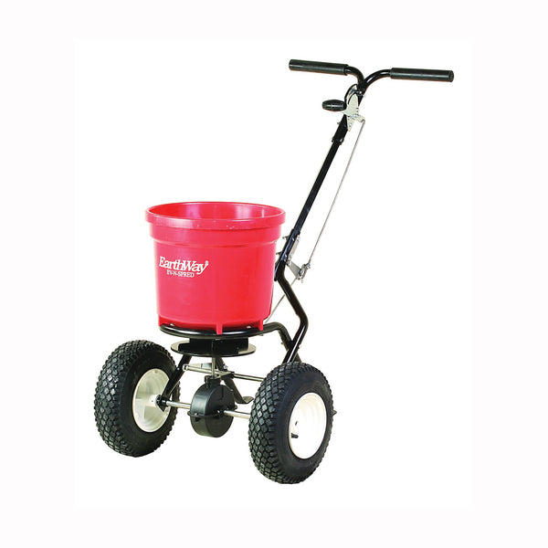 EarthWay 2150SU Broadcast Spreader, 1325 cu-in Coverage Area, 50 lb Capacity, Poly Hopper, Stud Wheel
