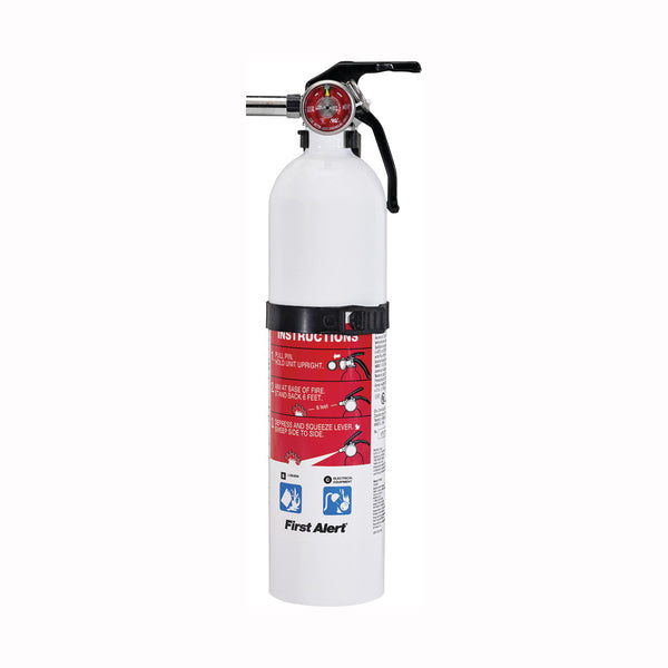 FIRST ALERT REC5 Rechargeable Fire Extinguisher, 2 lb Capacity, Sodium Bicarbonate, 5-B:C Class