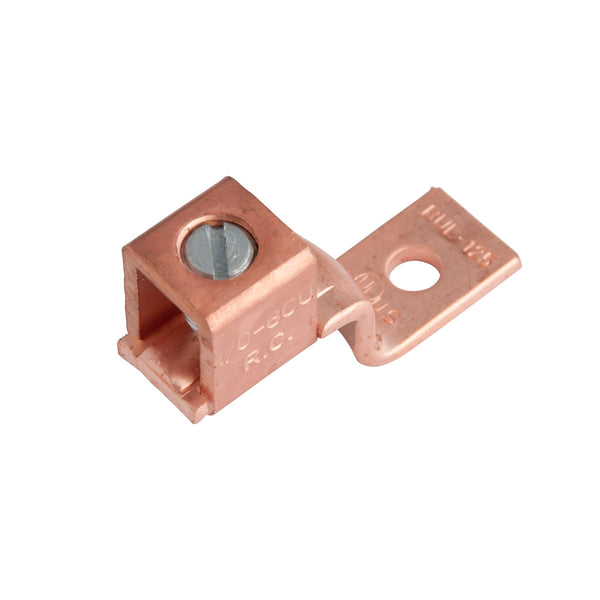 GB GSLU-125 Mechanical Lug, 600 V, 6 to 0 Wire, 3/8 in Stud, Copper Contact, 2/Clam