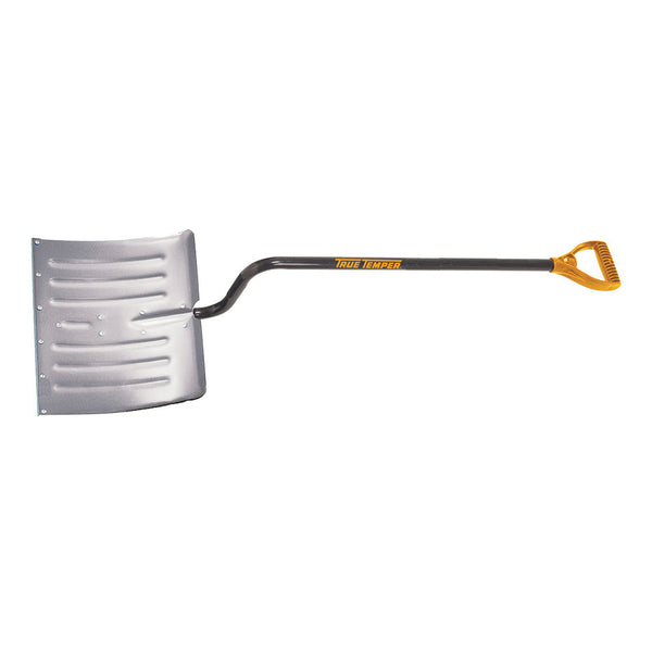 TRUE TEMPER 1641200 Snow Shovel, 18 in W Blade, 14-1/2 in L Blade, Aluminum Blade, Steel Handle, 52 in OAL, Blue