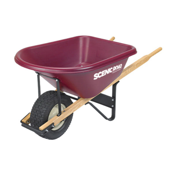 SCENIC ROAD M6-1T Turf Wheelbarrow, 800 lb Volume, Polyethylene/Steel, 1 -Wheel, Ball Bearing Wheel