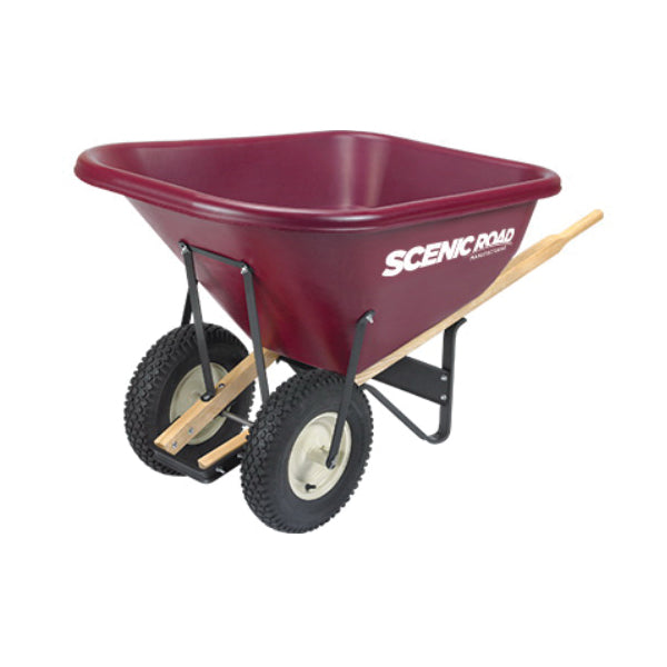 SCENIC ROAD M10-2K Knobby Wheelbarrow, 800 lb Volume, Polyethylene/Steel, 2 -Wheel, Ball Bearing Wheel