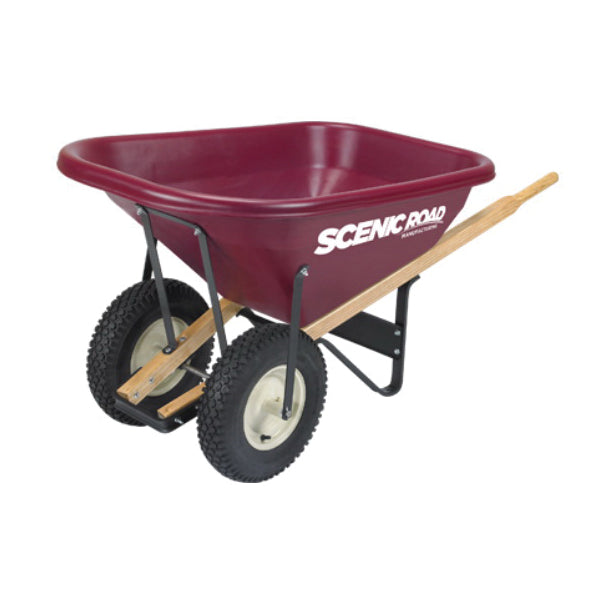 SCENIC ROAD M8-2K-PLT Knobby Wheelbarrow, 800 lb Volume, Polyethylene/Steel, 2 -Wheel, Ball Bearing Wheel
