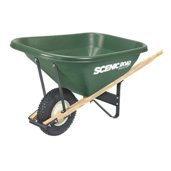 SCENIC ROAD Scenic Lane G8-1K Knobby Wheelbarrow, 400 lb Volume, Polyethylene/Steel, 1 -Wheel, Ball Bearing Wheel