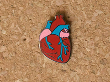 Load image into Gallery viewer, Enamel pin shaped and coloured like a human heart