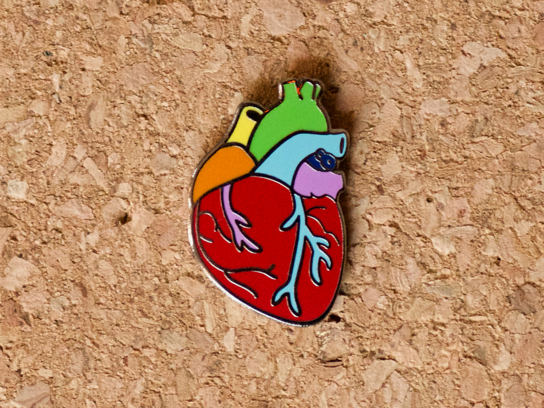 Lapel pin shaped like a human heart, but it's made in rainbow colours.