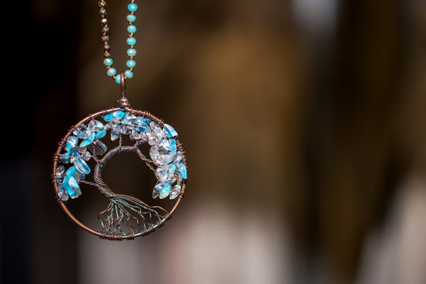 tree of life necklace with stone