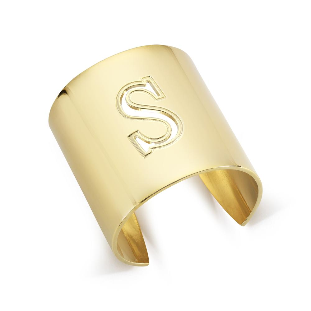 "Gold ""S"" Initial cuff So Excessive"