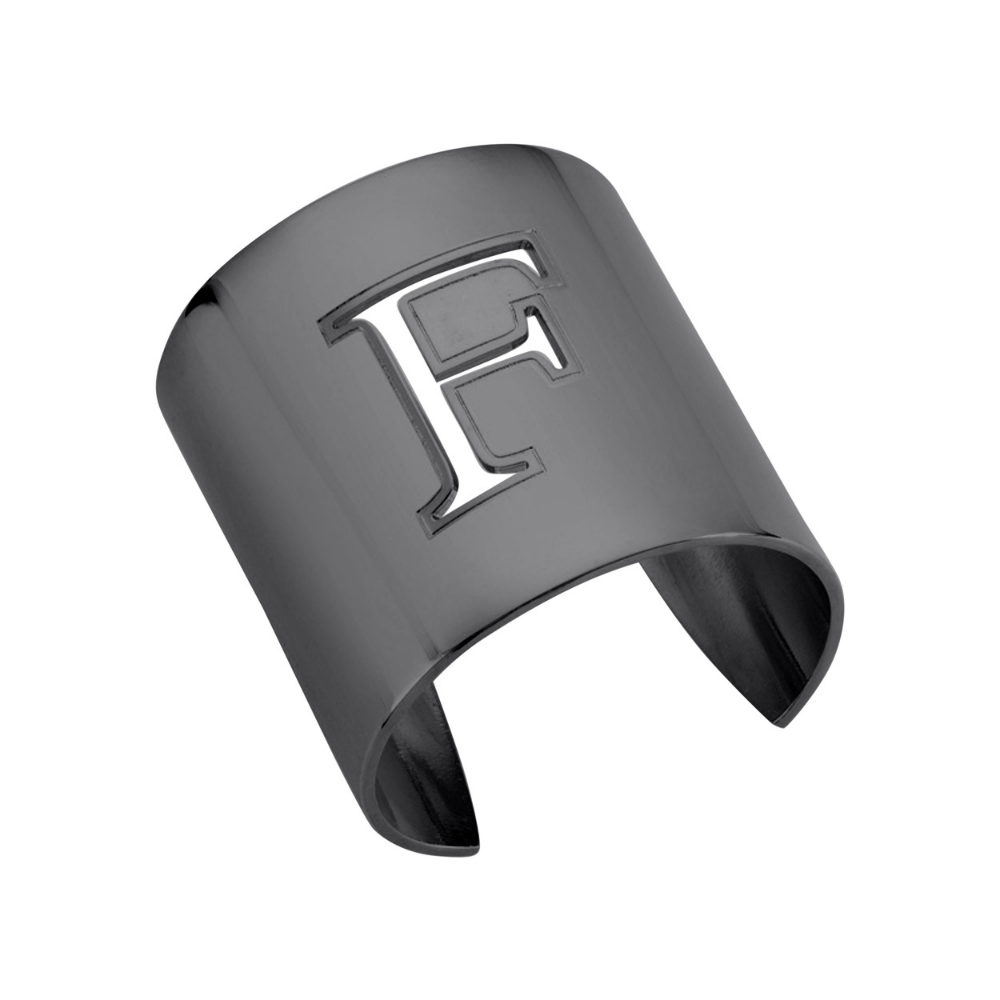 "Gunmetal ""F"" Initial cuff So Excessive"