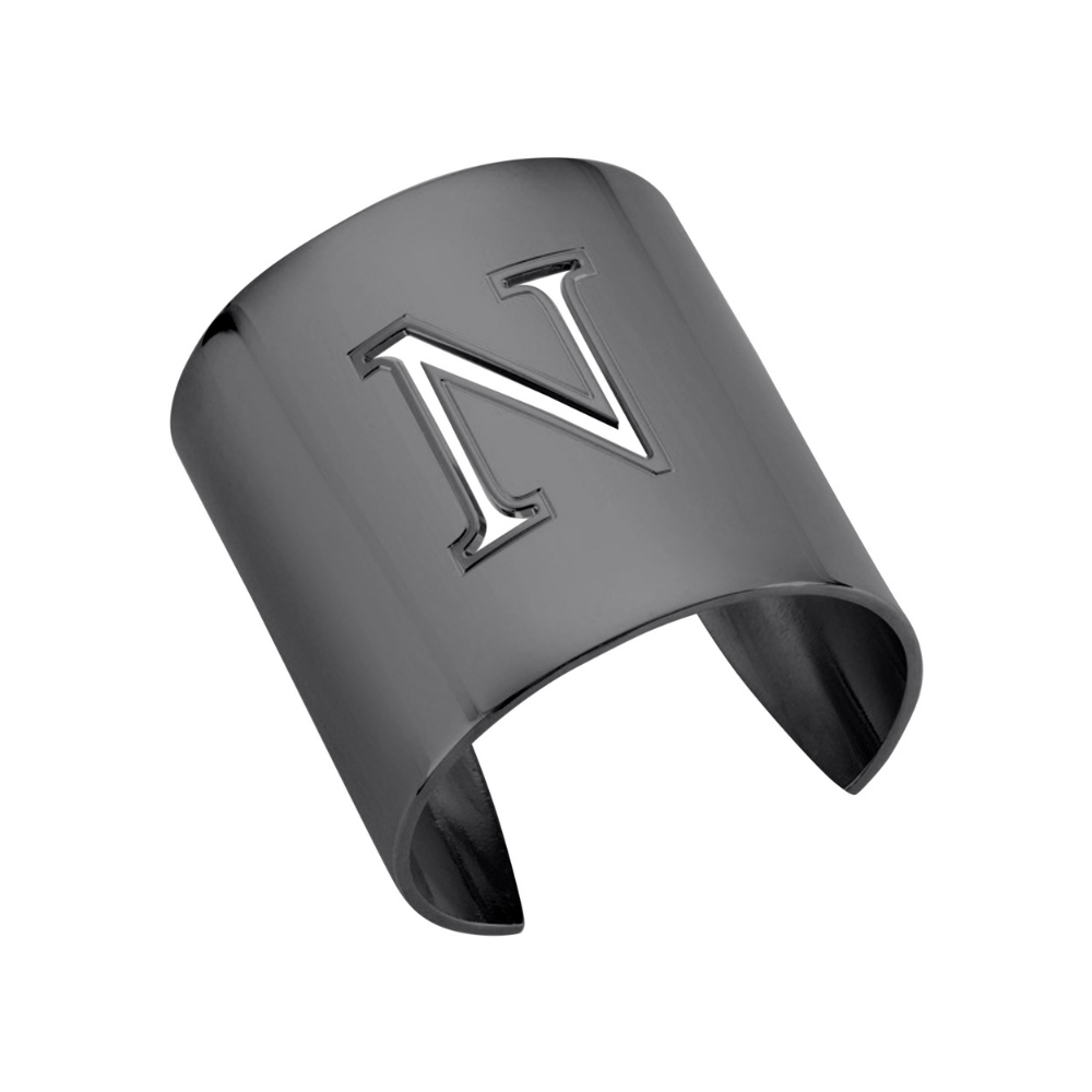 "Gunmetal ""N"" Initial cuff So Excessive"