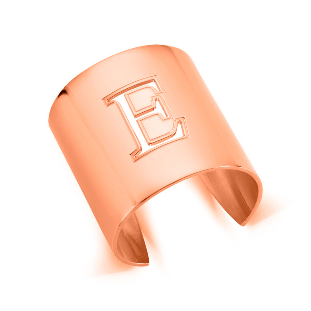 "Rose Gold ""E"" Initial cuff So Excessive"