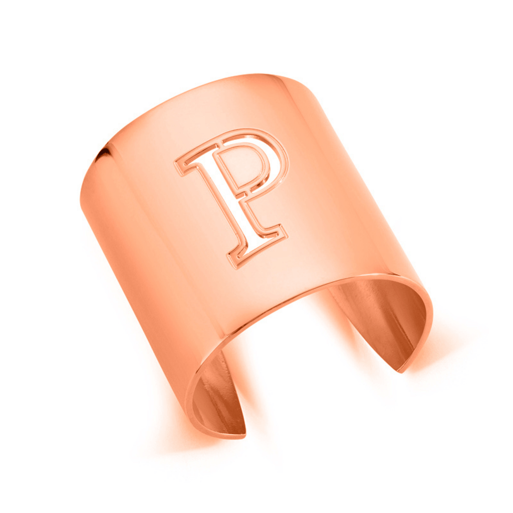 "Rose Gold ""P"" Initial cuff So Excessive"