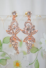 Load image into Gallery viewer, Rose gold crystal bridal earrings