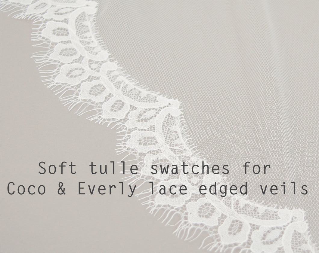 Coco and Everly lace edged veil fabric samples