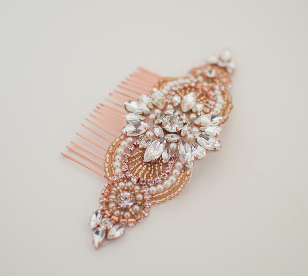 Rose gold vintage style bridal hair comb