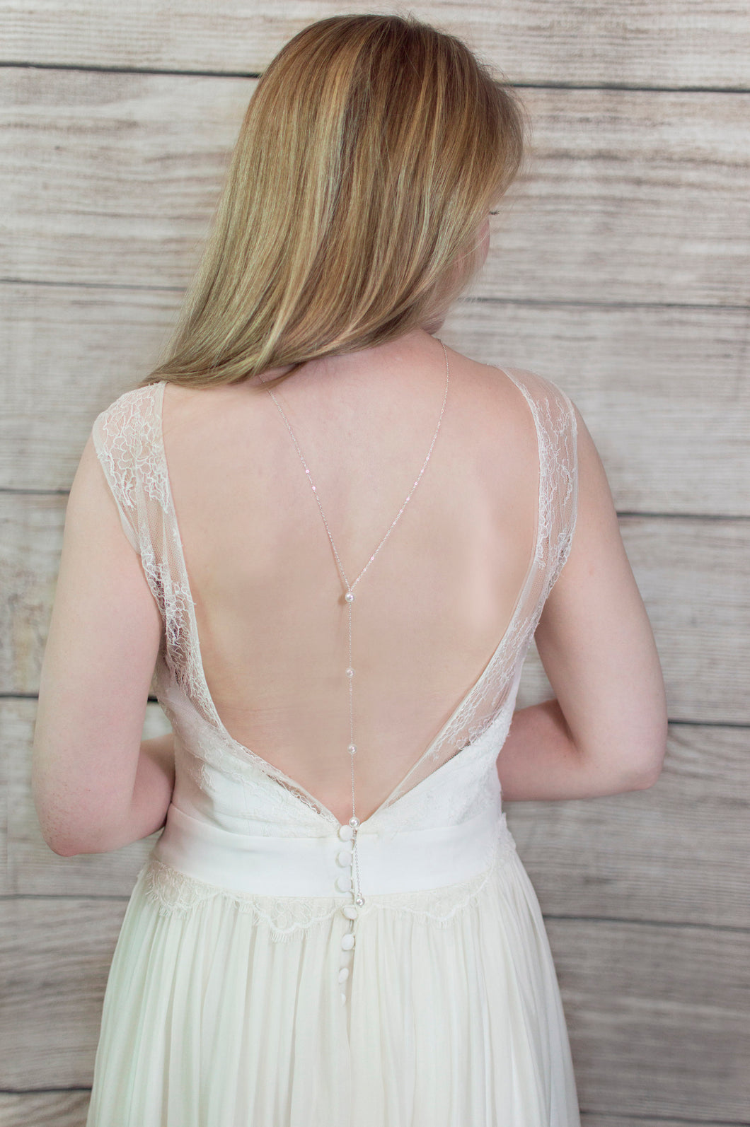 Pearl and silver plated back drop bridal necklace