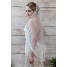 Load image into Gallery viewer, Lace edged fingertip wedding veil, Everly