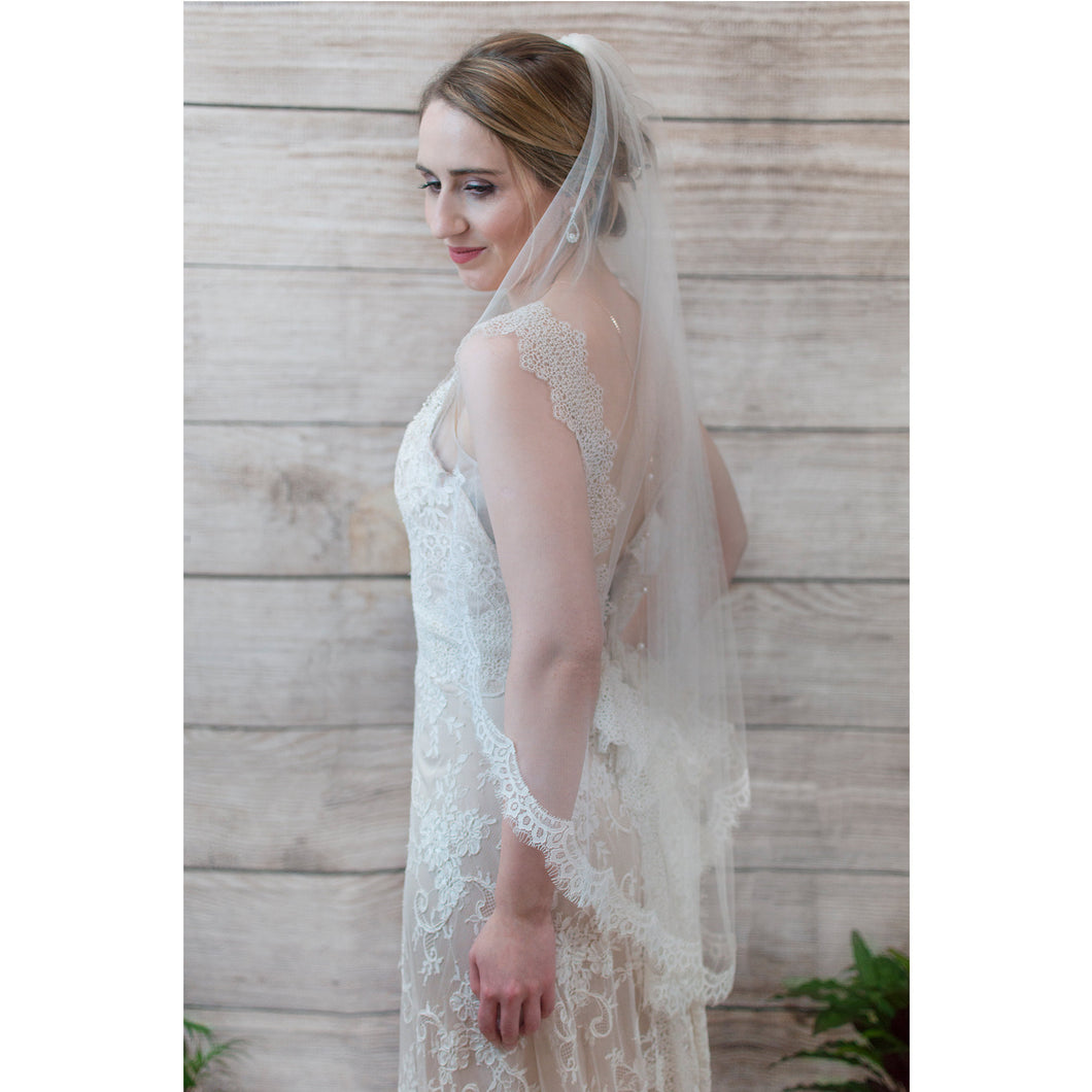 Lace edged fingertip wedding veil, Everly