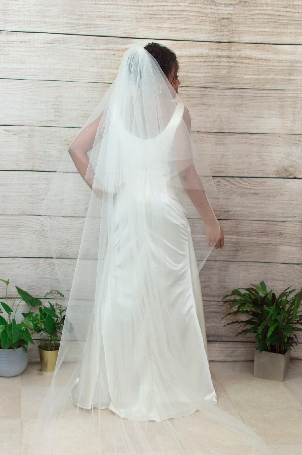 Crystal chapel length double layer veil, Mia