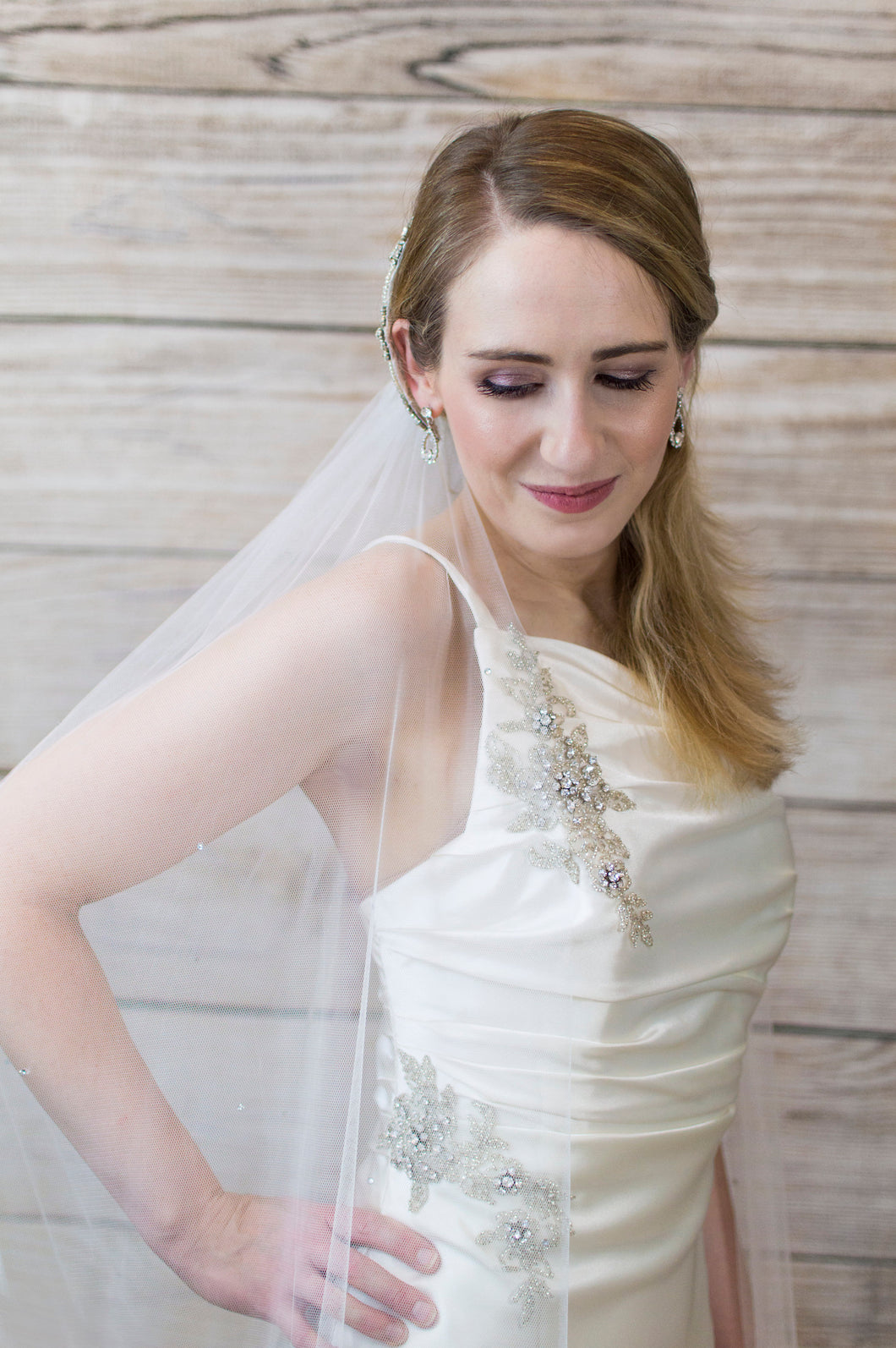 Crystal chapel length wedding veil, Lana