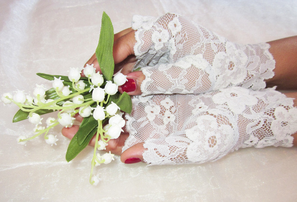 Ivory and blue lace bridal gloves