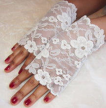 Load image into Gallery viewer, Ivory and blue lace bridal gloves