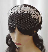 Load image into Gallery viewer, Birdcage lace bridal fascinator, Doris