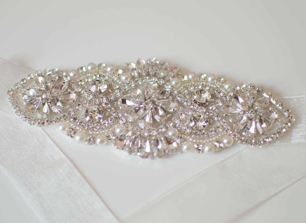 Silver crystal and pearl bridal belt
