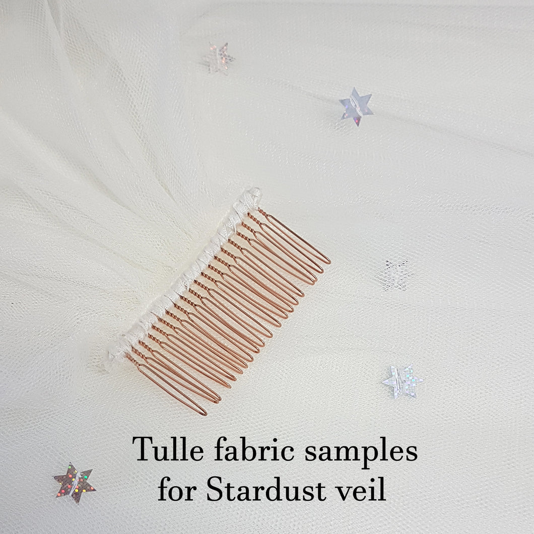 Tulle fabric samples for Stardust veil