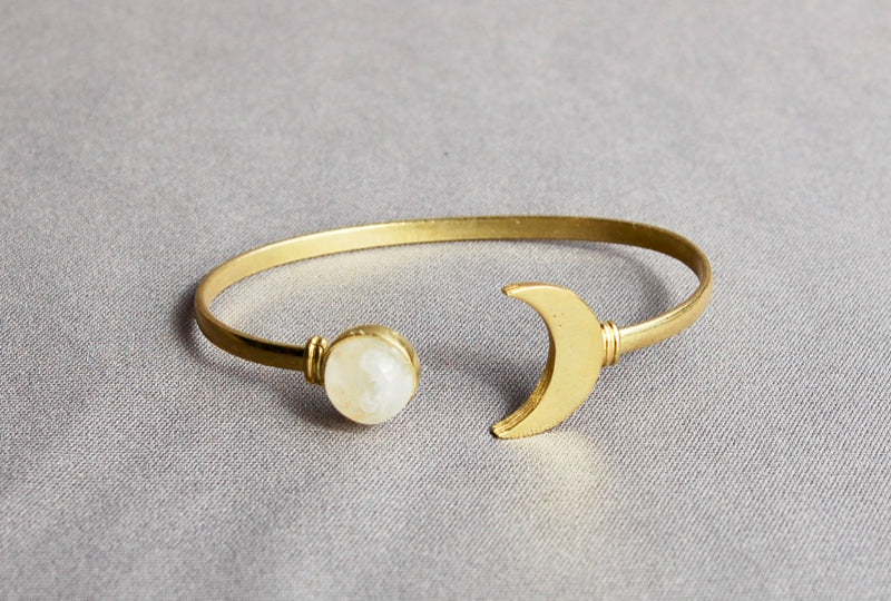 Moon Cuff Bracelet (Silver and Gold)