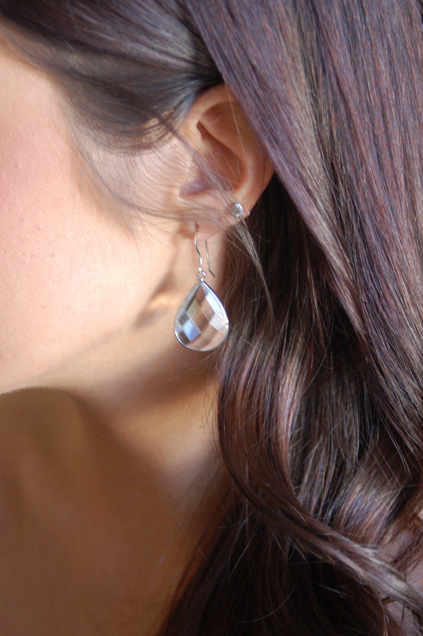 Quartz Crystal Teardrop Earrings