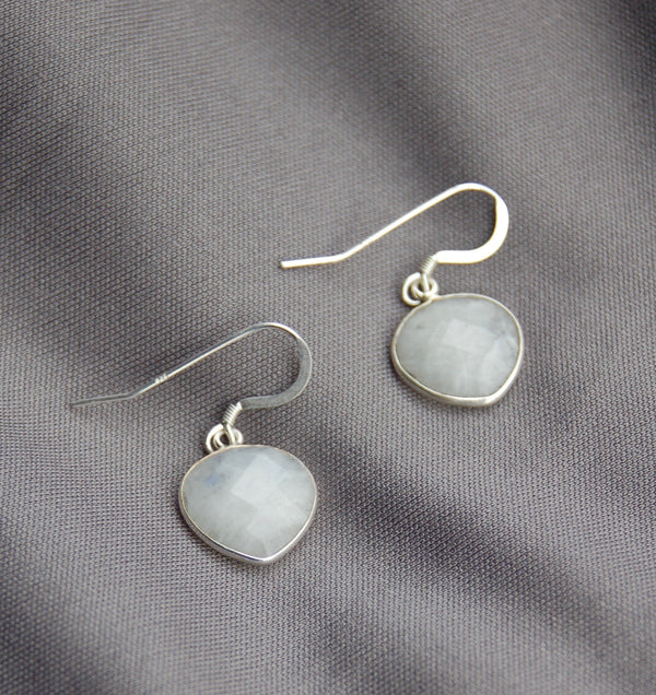 Moonstone Heart Earrings
