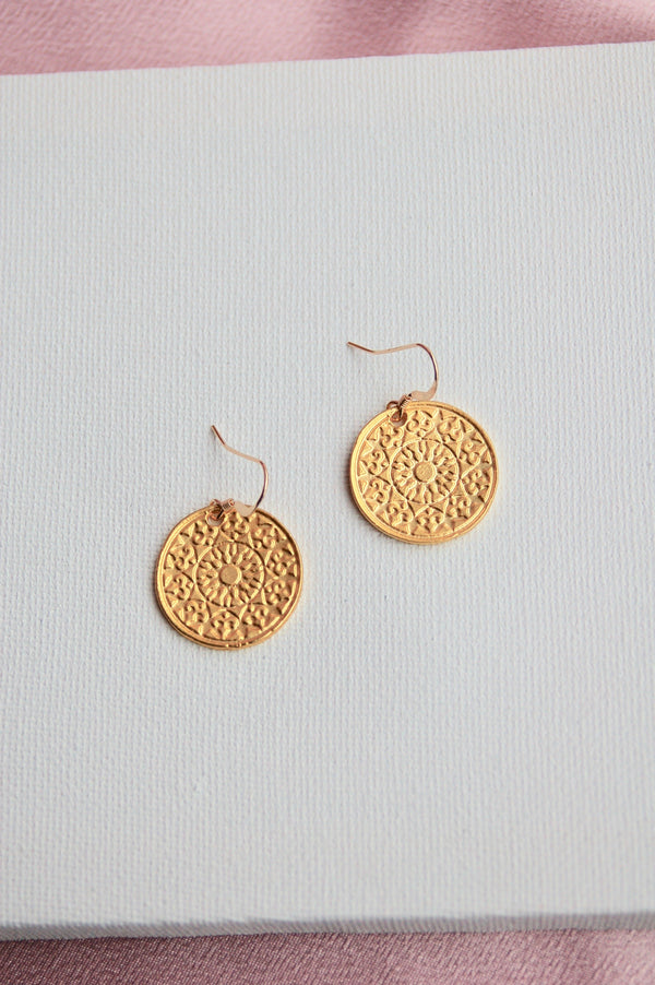 Gold Mandala Earrings