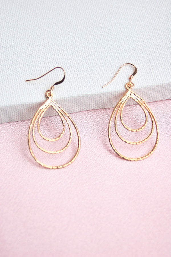Three Tier Gold Earrings