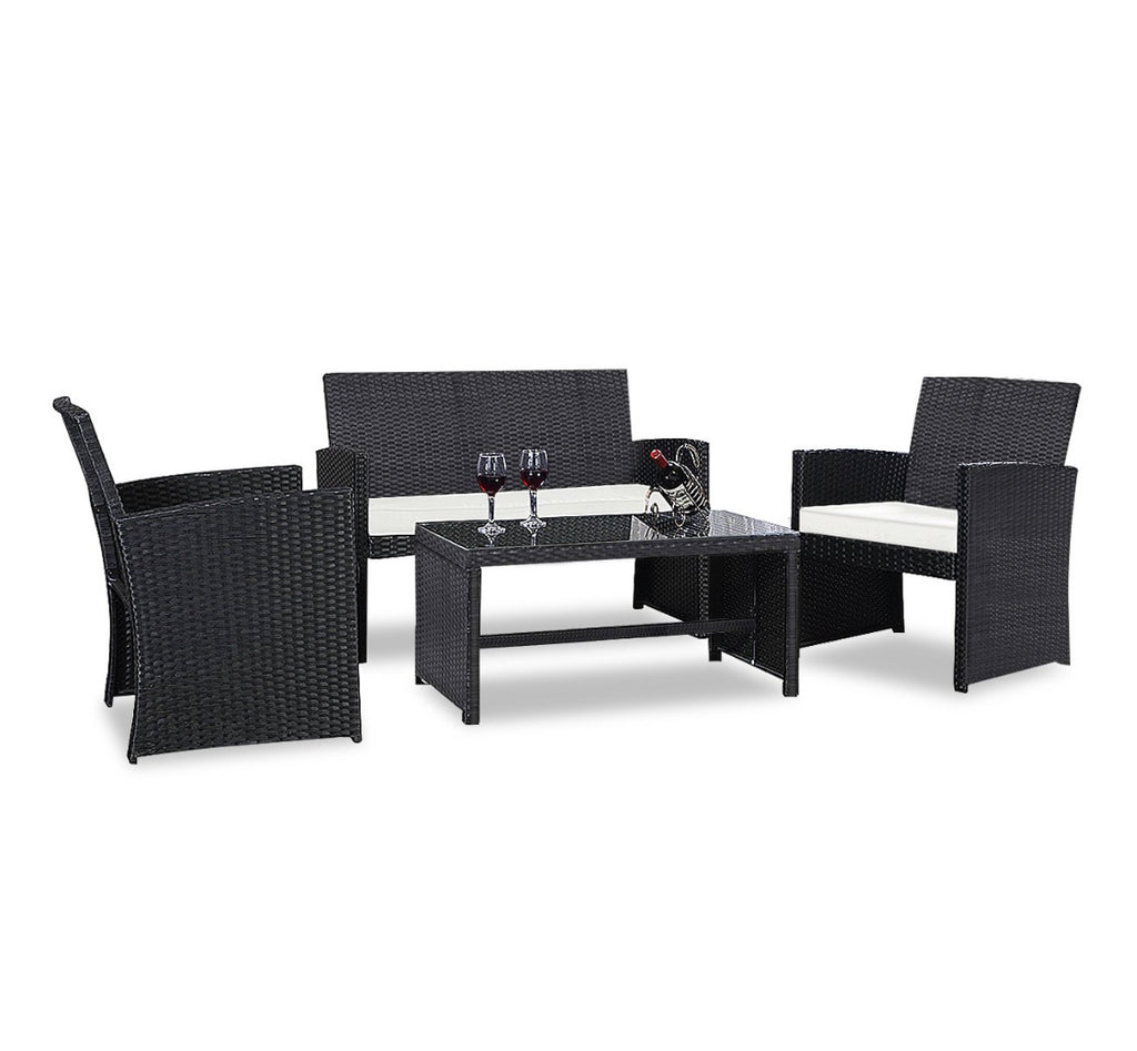 4 Piece Outdoor Patio Rattan Furniture Set
