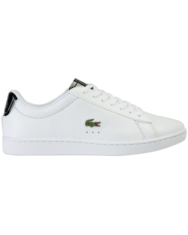 Side view of Lacoste carnaby evo tumbled white leather sneaker with black shiny back and green alligator