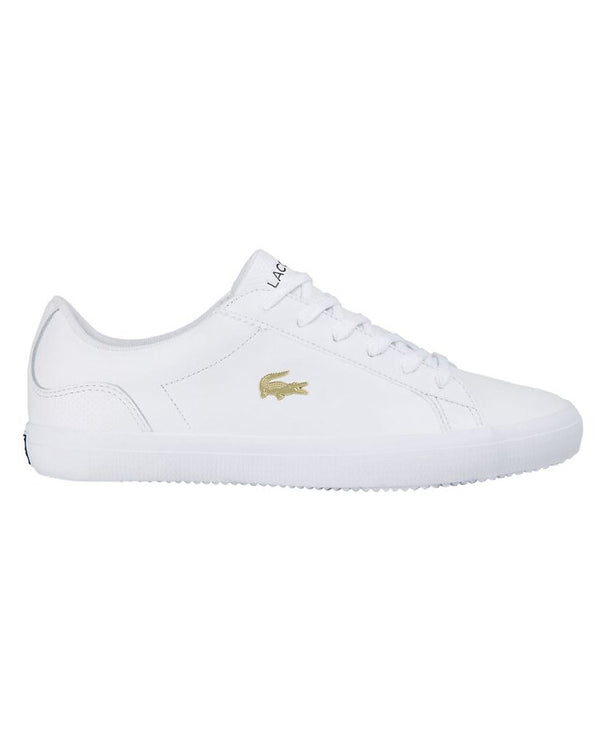 Side view of lacoste lerond punched leather trainer in white with gold alligator on side