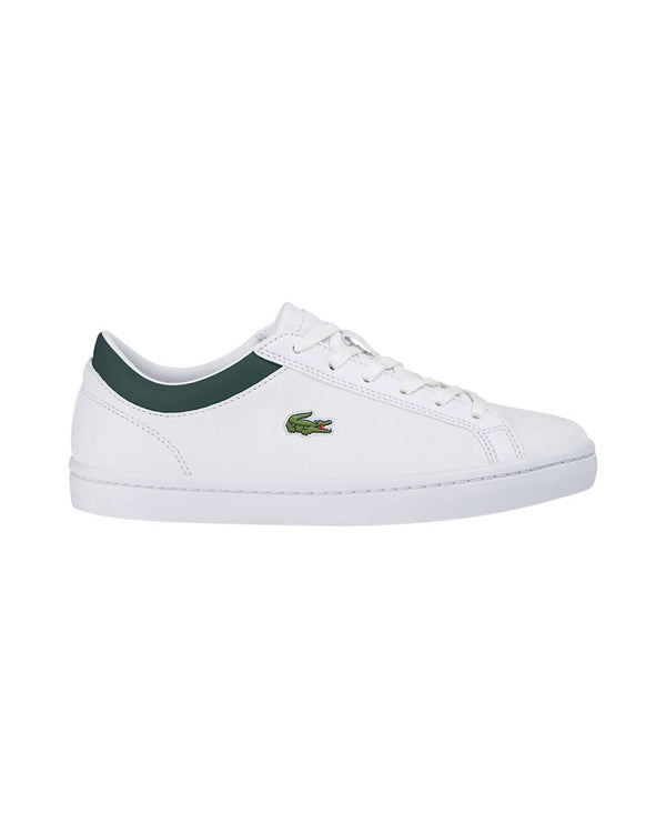 Side view of lacoste straightset leather sneaker in white and dark green with green alligator at side