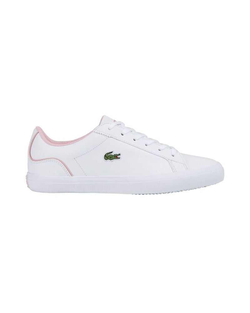 Side image of Lacoste lerond colourblock leather trainer in white and pink with green alligator at side