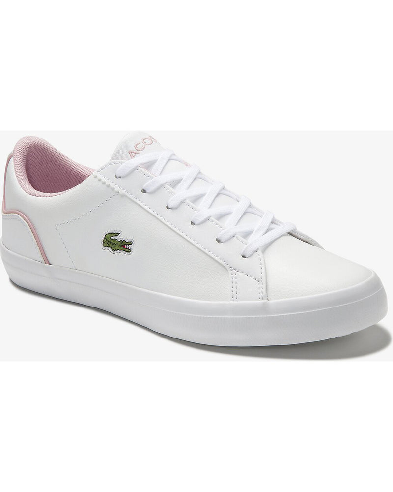 Side view of Lacoste lerond colourblock leather trainer in white and pink with green alligator at side