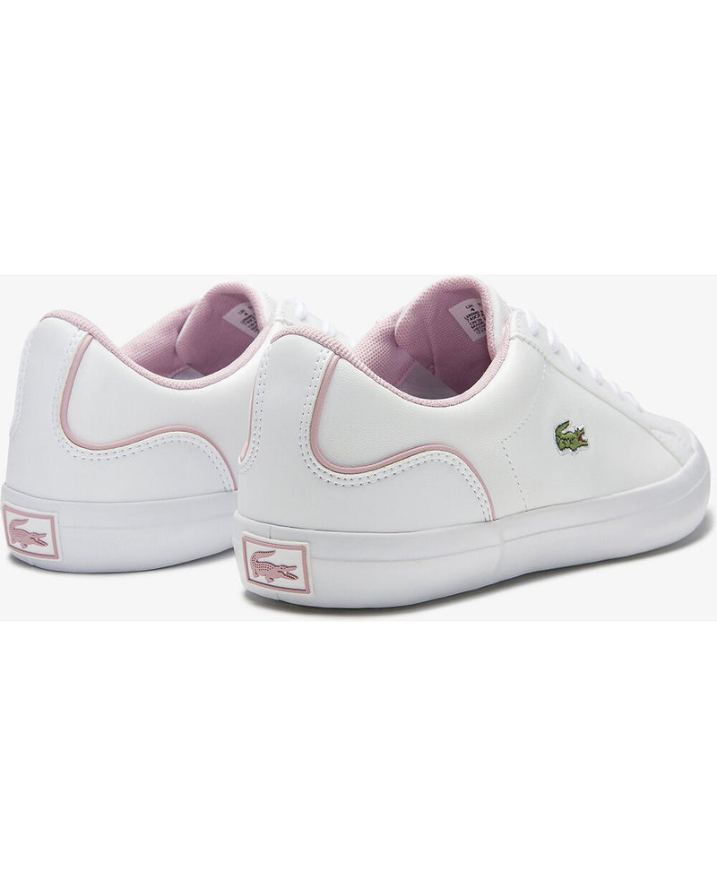 Back view of Lacoste lerond colourblock leather trainer in white and pink with green alligator at side and pink alligator on rear sole