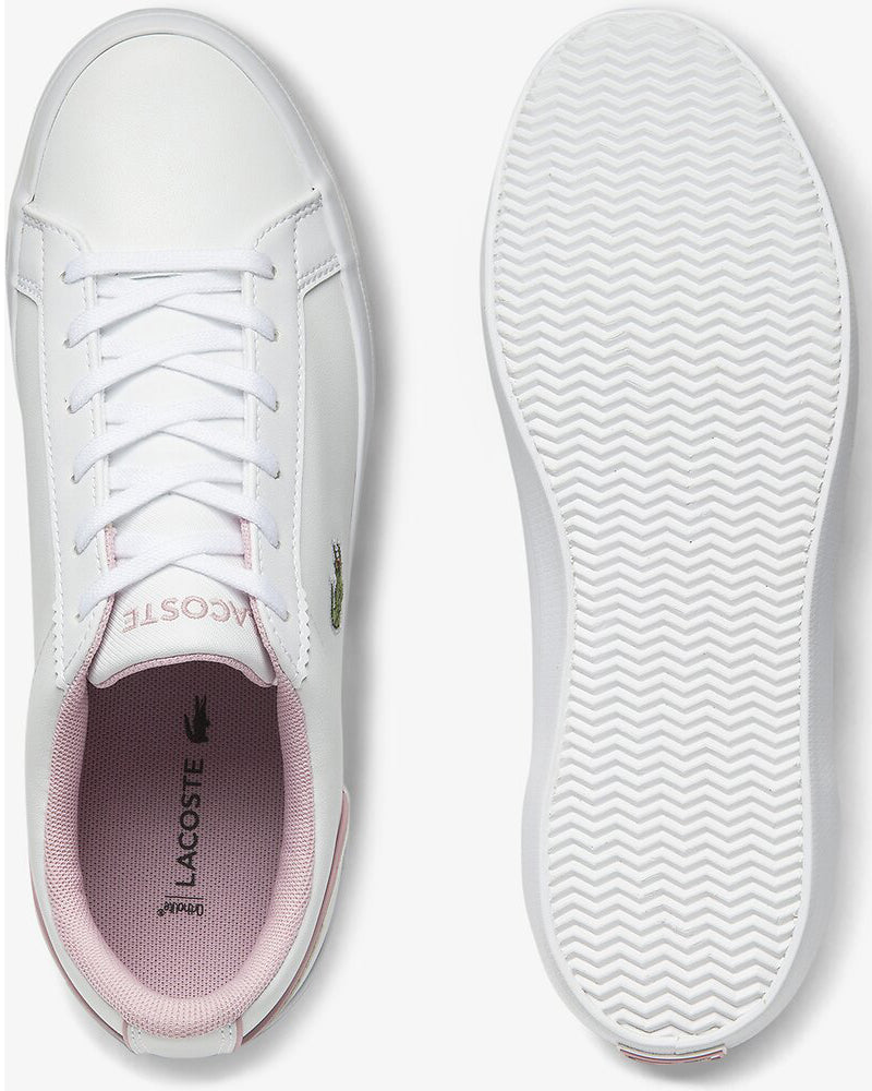 Top and sole view of Lacoste lerond colourblock leather trainer in white and pink with green alligator at side