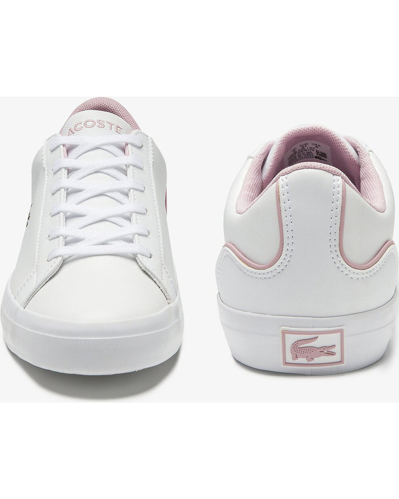 Front and rear view of Lacoste lerond colourblock leather trainer in white and pink with green alligator at side