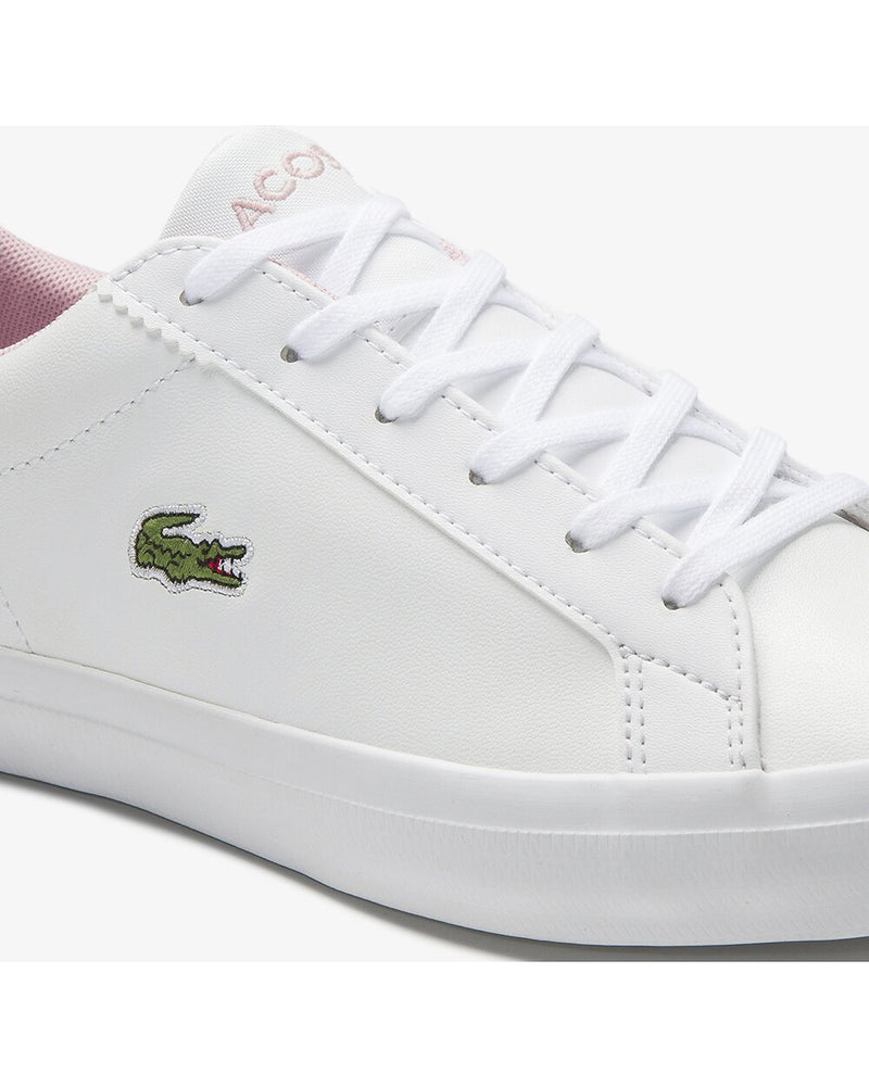 Close up Side view of Lacoste lerond colourblock leather trainer in white and pink with green alligator at side
