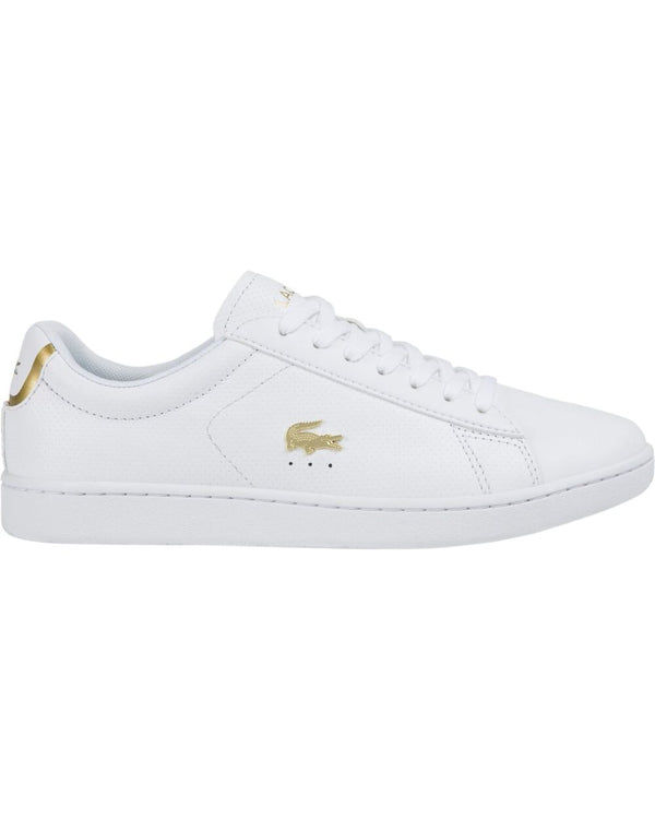 Side view of Lacoste carnaby evo white leather sneaker with gold alligator
