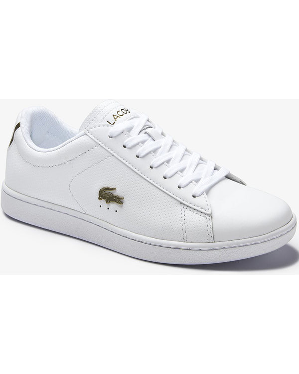 Side/front view of Lacoste carnaby evo white leather sneaker with gold alligator