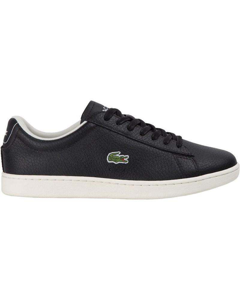 Side view of Lacoste carnaby evo tumble leather black sneaker with green alligator