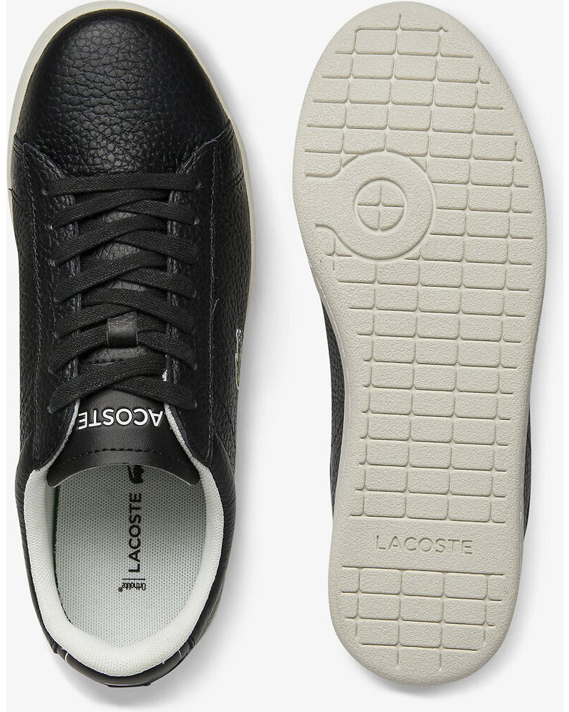 Top and sole view of Lacoste carnaby evo tumble leather black sneaker with green alligator